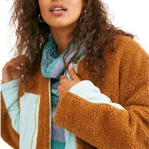 NWT Free People Faux Shearling Coat in RUST